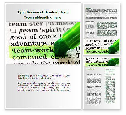 Business: Teamwork Training Principles Word Template #09094