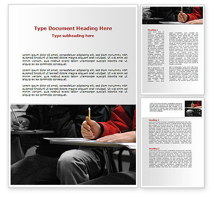 Education & Training: Student in a Lecture Word Template #09095