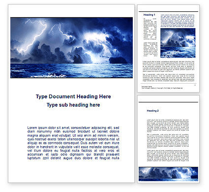 Navy Blue Sea Word Template, 09113, Nature & Environment — PoweredTemplate.com