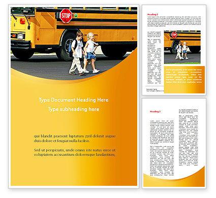 School Bus And Children Word Template, 09131, Education & Training — PoweredTemplate.com