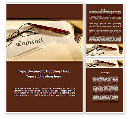 Treaty Word Template, 09133, Business — PoweredTemplate.com