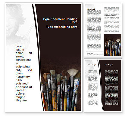 Art & Entertainment: Painting Brushes Word Template #09137