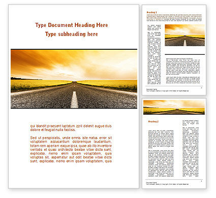 Road Into the Sunset Word Template, 09151, Cars/Transportation — PoweredTemplate.com