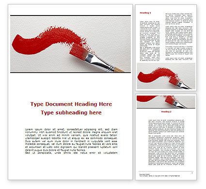 Red Paint Brush Word Template