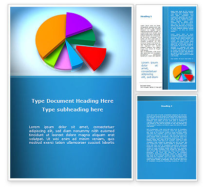 Business: Pie Diagram On The Blue Background Word Template #09154