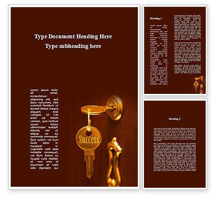 Key To Success Will Open The Door Word Template, 09164, Construction — PoweredTemplate.com