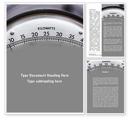 Wattmeter Word Template, 09165, Utilities/Industrial — PoweredTemplate.com