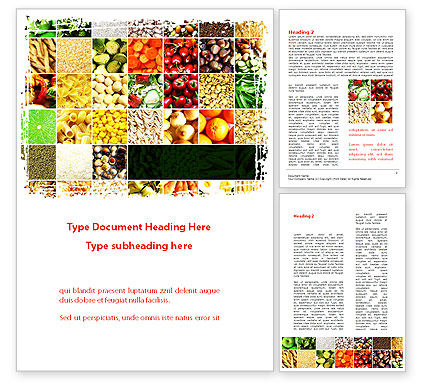 Agriculture and Animals: Foodstuffs Word Template #09170