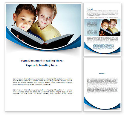 Reading Book in Early Childhood Word Template, 09173, People — PoweredTemplate.com