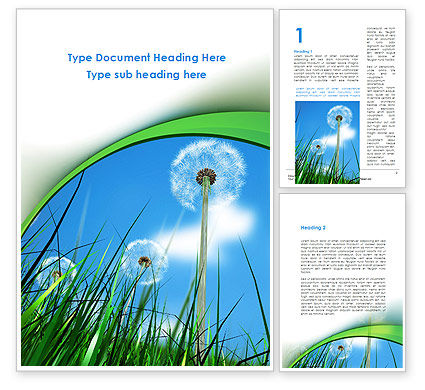 Dandelion Field Word Template, 09175, Nature & Environment — PoweredTemplate.com