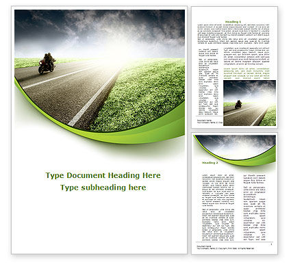 Bike On The Road Word Template, 09202, Cars/Transportation — PoweredTemplate.com