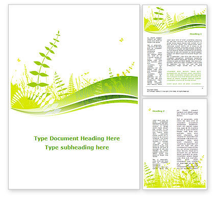 Nature & Environment: Grass Field Word Template #09221