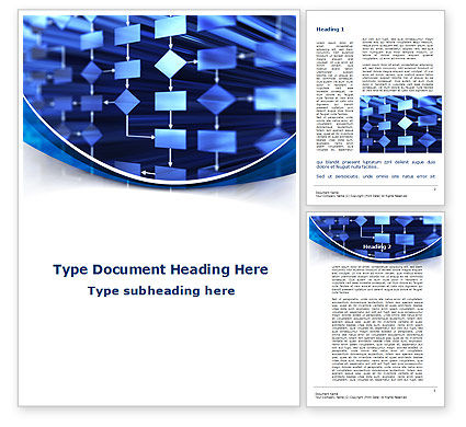 Flowchart in Three Dimensions Word Template, 09222, Consulting — PoweredTemplate.com