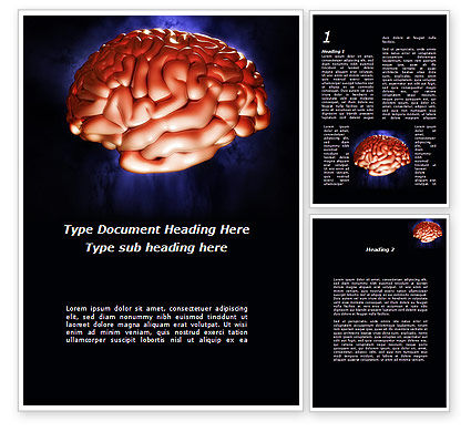 Human Brain in Three Dimensions Word Template, 09223, Medical — PoweredTemplate.com