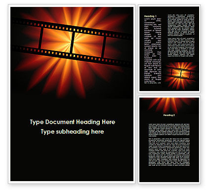 Art & Entertainment: Film Strip In Dark Red-Yellow Colors Word Template #09227