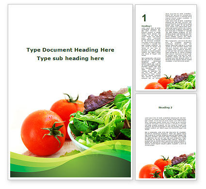 Salad with Tomatoes Word Template, 09230, Food & Beverage — PoweredTemplate.com