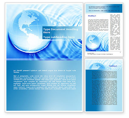 Globe in Blue Colors Word Template