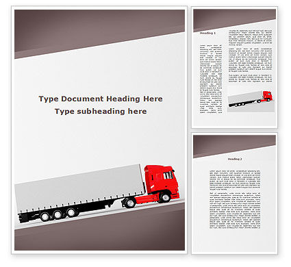 Truck Freight Word Template, 09241, Cars/Transportation — PoweredTemplate.com
