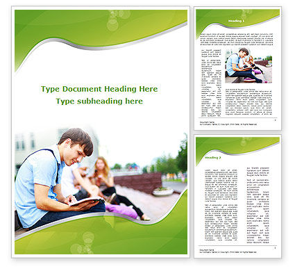 Student Reading A Book Word Template, 09242, People U2014 PoweredTemplate.com  Book Template Word