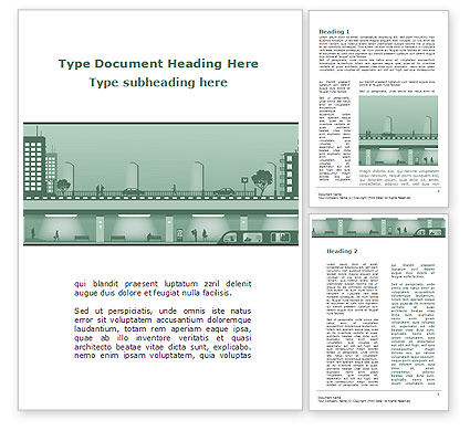 Construction: City Scene Word Template #09249