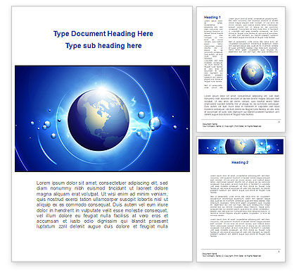 Blue Colored Globe Word Template, 09308, Global — PoweredTemplate.com