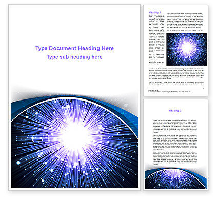 Optical Fiber Word Template, 09330, Technology, Science & Computers — PoweredTemplate.com