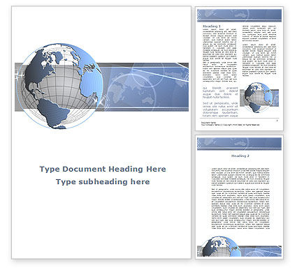 Global: Globe Wired Model Word Template #09333