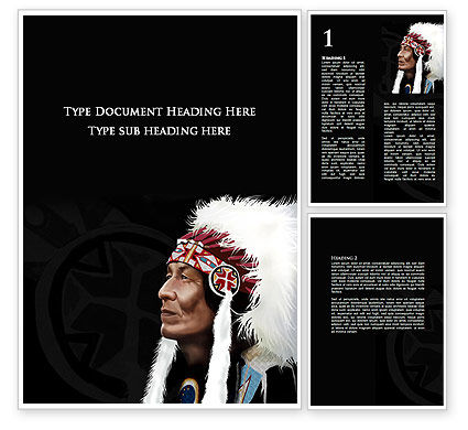 American Indian Chief Word Template, 09334, Flags/International — PoweredTemplate.com