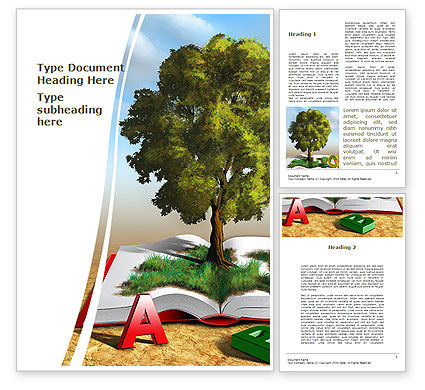 Nature & Environment: Green Tree of Knowledge Word Template #09343