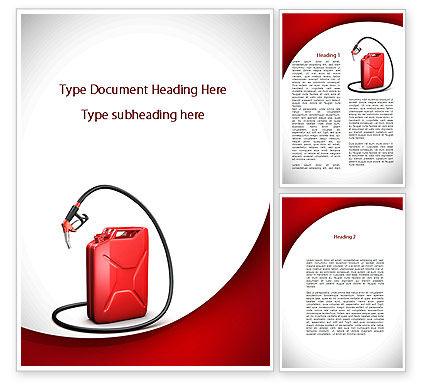 Gasoline Jerrycan Word Template, 09349, Cars/Transportation — PoweredTemplate.com