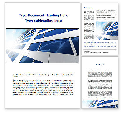 Construction: Blue Wolkenkrabber Word Template #09351