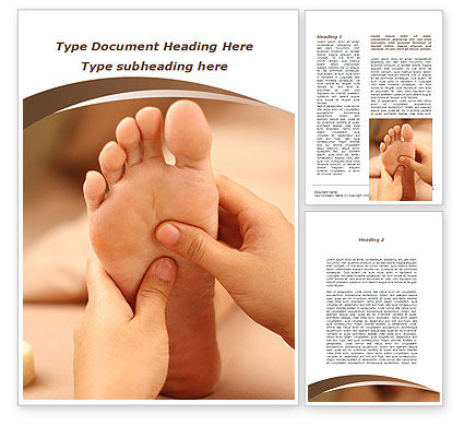 Feet Dotted Massage Word Template, 09356, Medical — PoweredTemplate.com