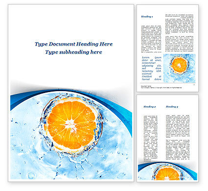 Food & Beverage: Orange In Pure Water Word Template #09359