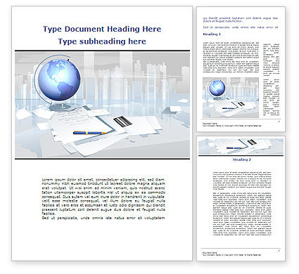 Globe Word Template, 09368, Consulting — PoweredTemplate.com