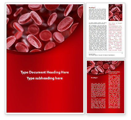 Red Blood Cells Stream Word Template, 09372, Medical — PoweredTemplate.com