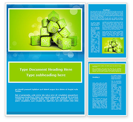 Consulting: Green Percent Cubes Word Template #09375