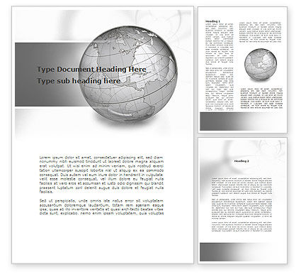 Global: Globe Transparent Model Word Template #09382