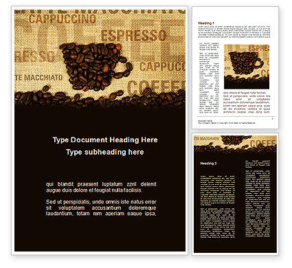 Coffee Beans On A Canvas Word Template, 09388, Food & Beverage — PoweredTemplate.com