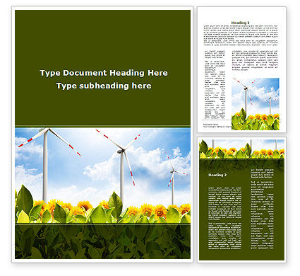 Nature & Environment: Windmills Field Word Template #09393