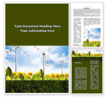Windmills Field Word Template, 09393, Nature & Environment — PoweredTemplate.com