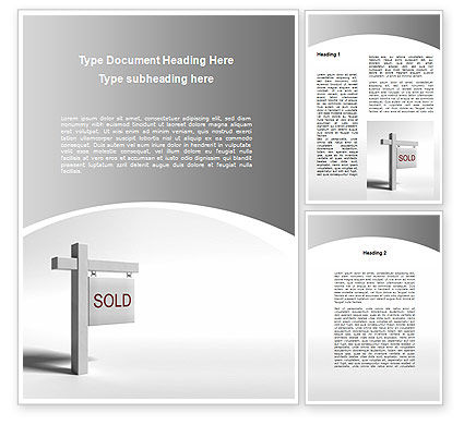 3D: Sold Real Estate Word Template #09409
