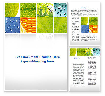 Wet Green Leaf Word Template, 09414, Agriculture and Animals — PoweredTemplate.com