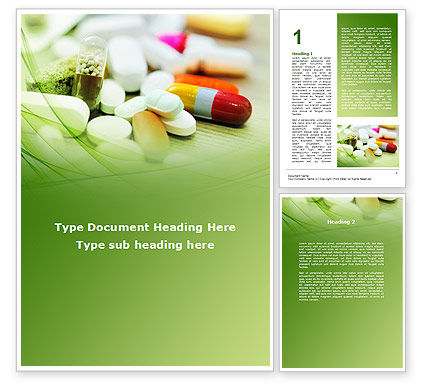 Medical Pills and Tablets Word Template, 09418, Medical — PoweredTemplate.com