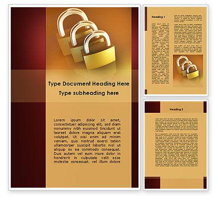 Brass Padlocks Word Template, 09427, Construction — PoweredTemplate.com