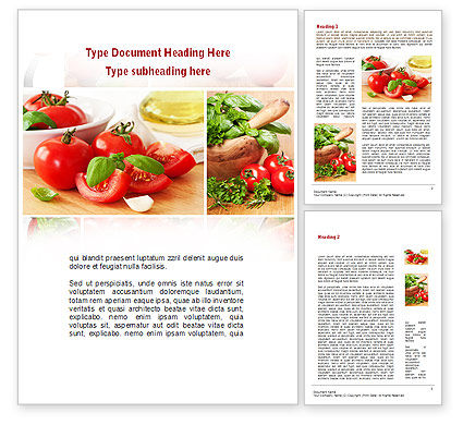 Food & Beverage: Sliced Tomatoes Word Template #09438
