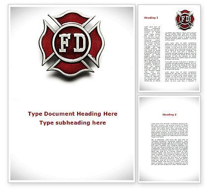 Holiday/Special Occasion: Fire Department Badge Word Template #09447