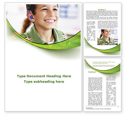 Hearing Aid Word Template, 09454, Education & Training — PoweredTemplate.com