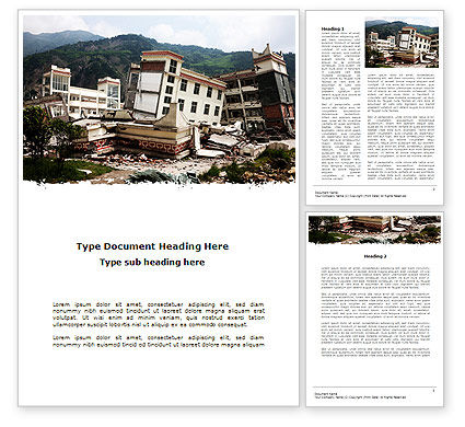 Destroyed Buildings Word Template, 09473, Construction — PoweredTemplate.com