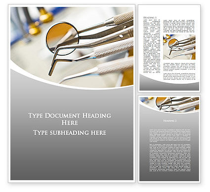 Dental Instruments Word Template, 09485, Medical — PoweredTemplate.com
