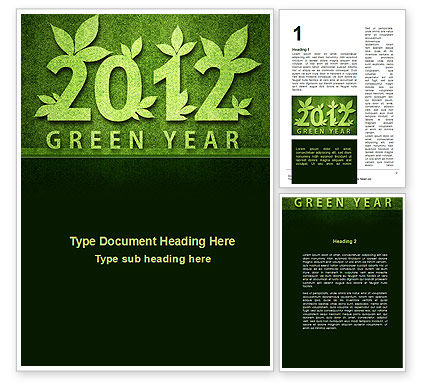 Nature & Environment: Green Year Word Template #09487